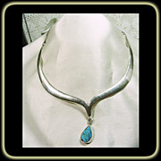 Sterling Silver Narrow Collar Necklace with Turquoise Drop
