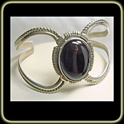 Sterling Silver with Natural Jet Cabochon Cuff Bracelet