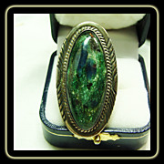 Navajo  Sterling Silver Ring with Peacock Color Stone with Iridescence