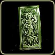 SALE Rare Hamilton Tile Works Tile of  Woman with a Parrot with Dog at Her Feet