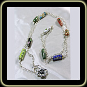 35 Inch Sterling Silver Chain with Cloisonne Beads and Flower Clasp