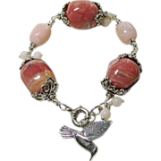 Rare Rose and Light Pink Opal Bead Bracelet with Sterling Silver