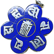 Sterling Silver  and Enamel Tibetan 6 Sided Good Luck Pendant