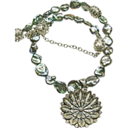 Freshwater Keishi Pearls Necklace with Mirrored Silver Pendant