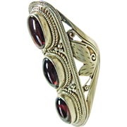 Elongated Lotus Blossom Sterling Silver Ring with Garnet Cabochons
