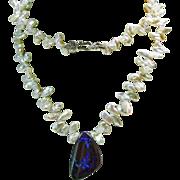 Australian Boulder Opal on Strand  of Keishi Pearls