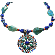 Necklace with Lapis, Chrysocolla, Azure Malachite with a Sterling Silver Tibetan Pendant