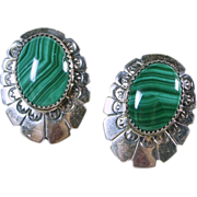 Malachite and Sterling Silver Earrings