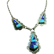 Sterling Silver Pendant Style Necklace with Lapis and Turquoise Inlay