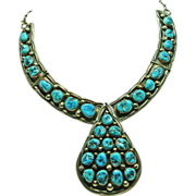 SOLD Sterling Silver and Turquoise Nugget Pendant Style necklace