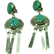 Chandelier Style Clip Earrings in Sterling Silver with Blue Gem Turquoise