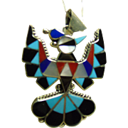 Zuni Thunderbird Sterling Silver Pendant with 18 inch Sterling Snake Chain