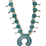 SOLD Sterling Silver and Turquoise Squash Blossom Necklace