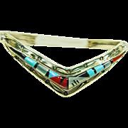 Sterling Silver V-Shape Cuff Bracelet with Stone on Stone Inlay by  Henry Addikie, Zuni