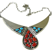 R. Hoski Sterling Silver Necklace with Coral and Turquoise