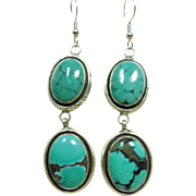Melvin Francis Sterling Silver and Chinese Turquoise Chandelier Earrings