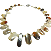 SALE Montana Agate and Moonstone Bead necklace
