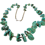 29 Inch Green Turquoise Nugget with Shell Heishi Necklace