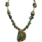 Sterling Bead and Kingman Turquoise Necklace with Sterling Kingman Turquoise Pendant