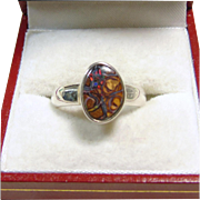 SALE Sterling Silver Red Boulder Opal Ring