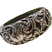 Oversized Green Resin Tibetan Cuff Bracelet with Sterling Silver Overlay