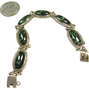 Sterling Silver and Agate Link Bracelet