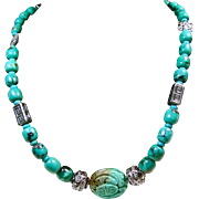 Chinese Turquoise Necklace with Bali Sterling Silver Beads and Carved Chinese Turquoise Focal