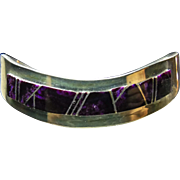 Sterling Silver Narrow Wave Shape Cuff Bracelet with Sugilite Inlay