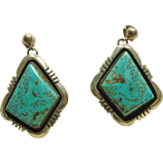 Navajo Sterling Silver Earrings with Morenci Turquoise by Joe Delgarito