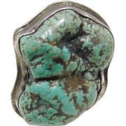 1940-1950s Sterling Silver and Ajax Mine Large Seafoam Spiderweb Turquoise Nugget Ring