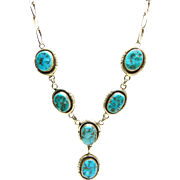 1960's Native American Navajo Sterling Kingman Turquoise Necklace by Oscar Alexius