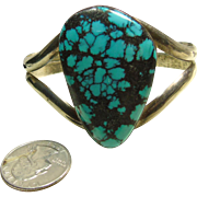Native American Sterling Silver Bracelet with High Grade Spiderweb Turquoise
