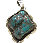 Native American Sterling Pendant with Sea Foam Turquoise