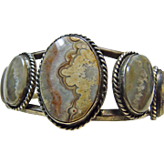 SALE Sterling Silver Bracelet with Crazy Lace Agate