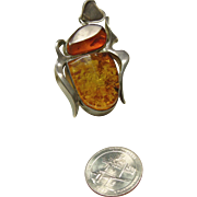 Sterling Silver Arts and Crafts Amber Pendant