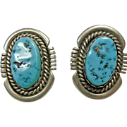 Sterling Silver Oval Earrings with Aqua Blue Turquoise