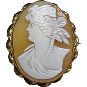 Victorian Shell Cameo Broach of a Greek Woman