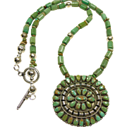 Green Turquoise and Sterling Silver Necklace