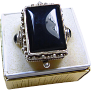 Sterling Silver and Black Onyx Signet Style Ring