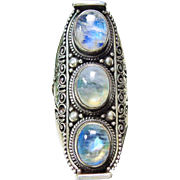 Sterling Silver Elongated Ring with 3 Moonstones