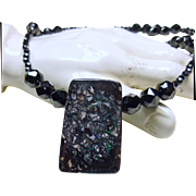 Necklace of Black Spinel with Boulder Opal Pendant