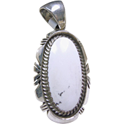 Sterling Silver Shadowbox Pendant with White Buffalo Turquoise
