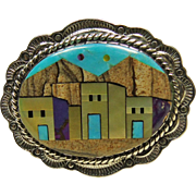 Sterling Silver Broach/Pendant1 5/8 with Stone on Stone Inlay Pueblo Design