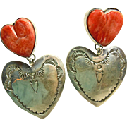 Navajo Sterling Silver and Spiny Oyster Double Heart Earrings