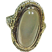1920's 14k White Gold Filigree Ring with Oval Moonstone Cabochon