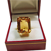 1940s Retro Style Gold Citrine Ring