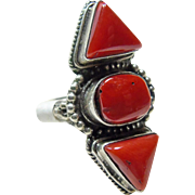 Sterling Silver Tibetan Red Coral Ring