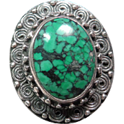 Tibetan Spider Web Turquoise and Sterling Silver Ring
