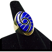 Sterling Silver Ring with Blue Lapis Inlay by Dickie Quandelacy Zuni