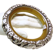 Tibetan Bone Bracelet with Sterling Silver Overlay Decoration